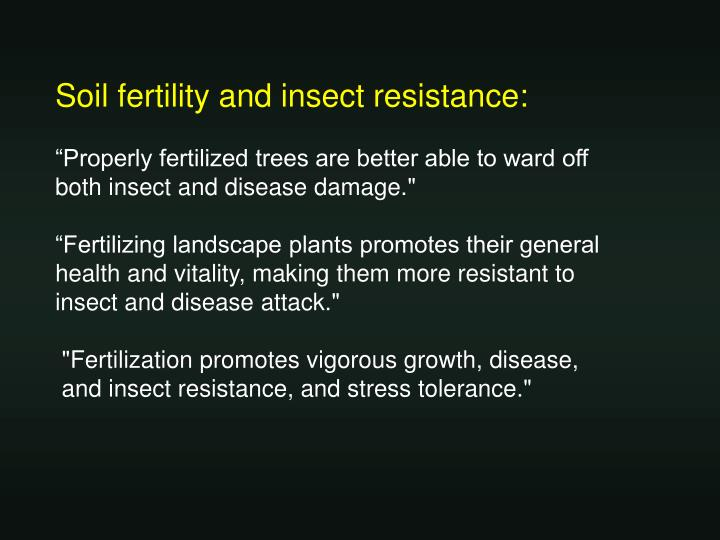Soil fertility and insect resistance: