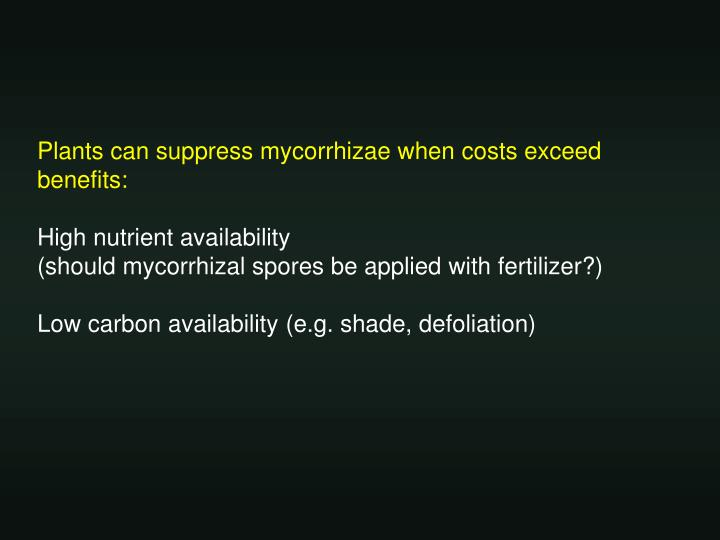 Plants can suppress mycorrhizae when costs exceed benefits: