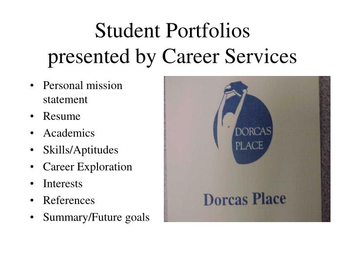 student portfolios presented by career services n.