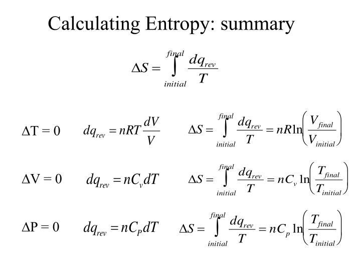 Calculating Entropy: summary