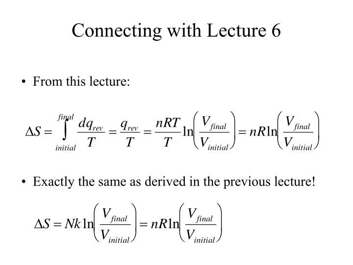 Connecting with Lecture 6