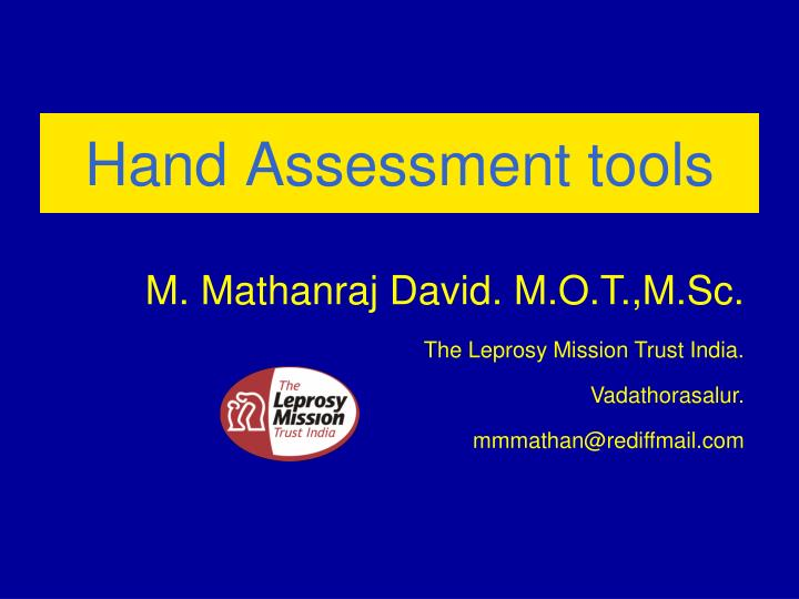 hand assessment tools n.