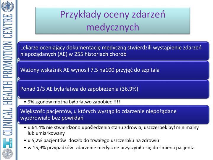 Przykłady oceny zdarzeń medycznych
