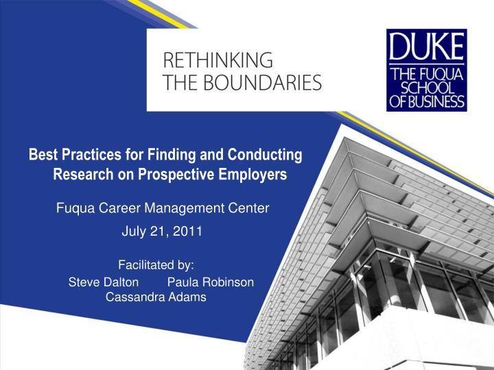 Best practices for finding and conducting research on prospective employers