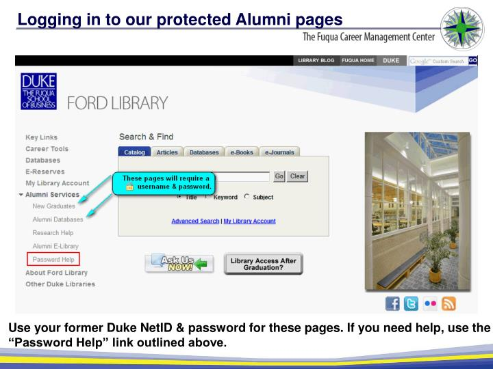 Logging in to our protected Alumni pages