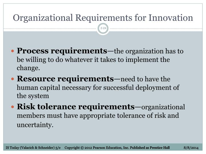Organizational Requirements for Innovation