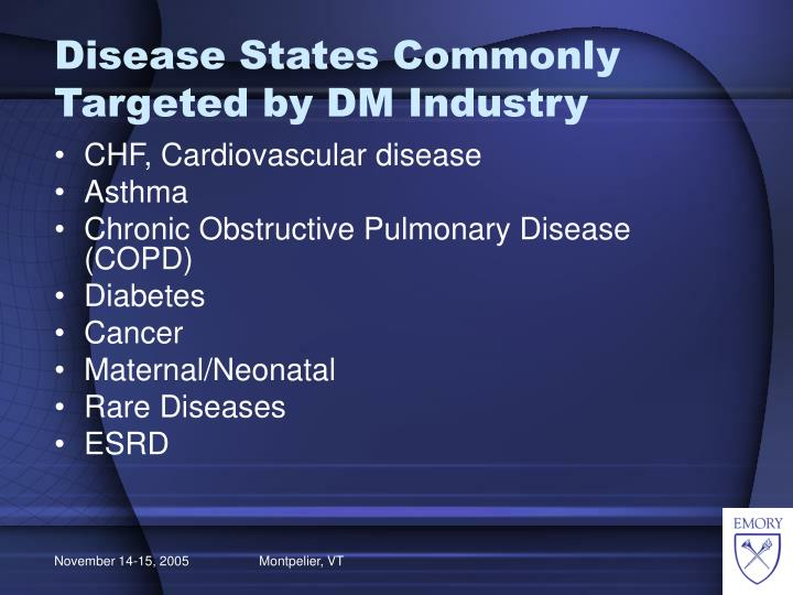 Disease States Commonly Targeted by DM Industry