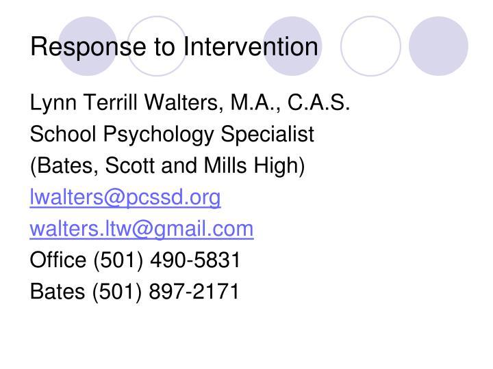 Response to Intervention