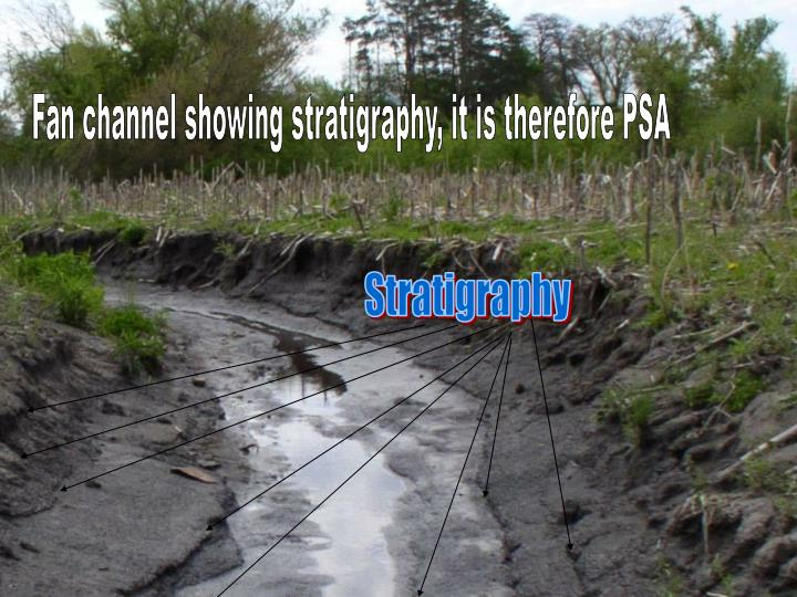 Fan channel showing stratigraphy, it is therefore PSA