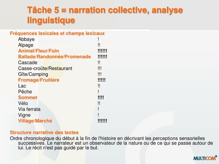Tâche 5 = narration collective, analyse linguistique
