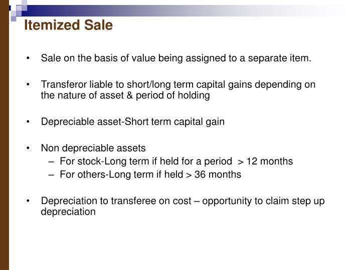 Itemized Sale