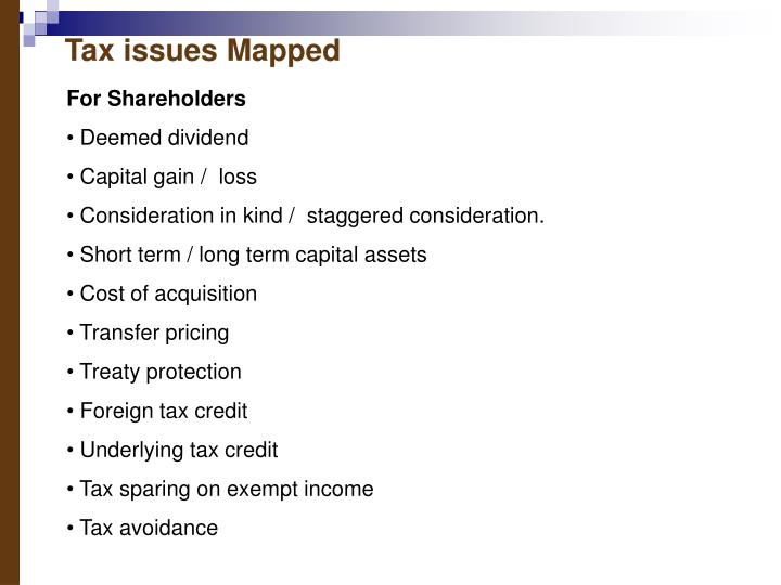 Tax issues Mapped