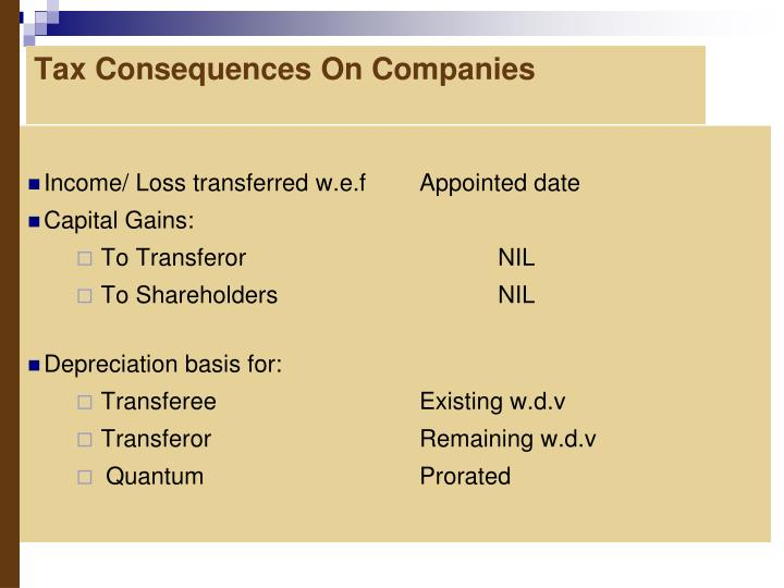 Tax Consequences On Companies