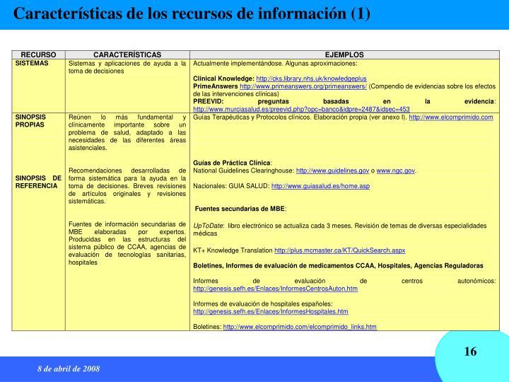 Características de los recursos de información (1)