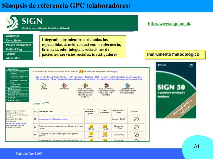 Sinopsis de referencia GPC (elaboradores)