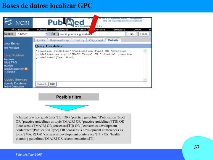 Bases de datos: localizar GPC