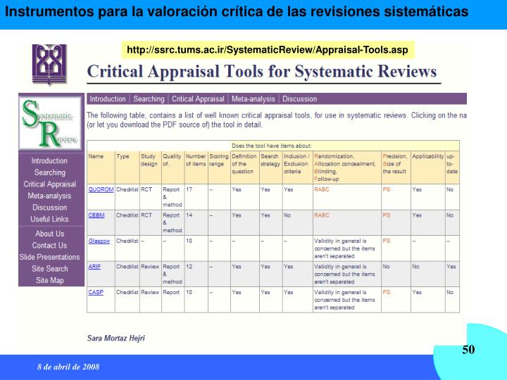 Instrumentos para la valoración crítica de las revisiones sistemáticas