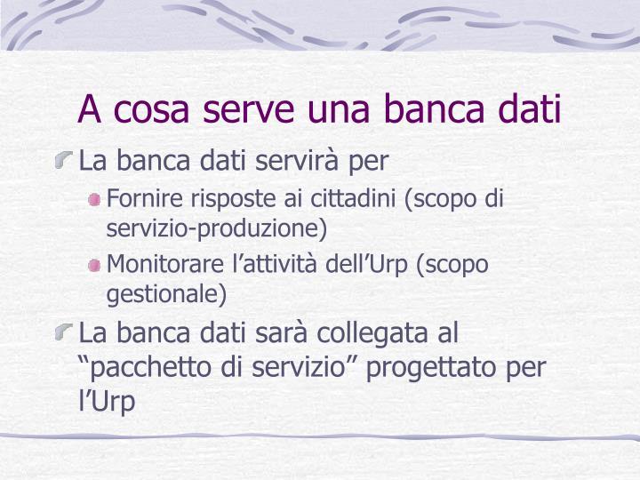 A cosa serve una banca dati