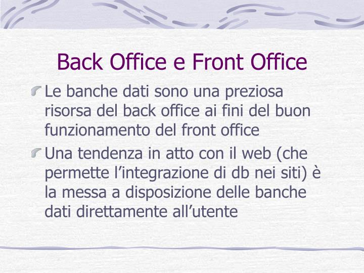 Back Office e Front Office