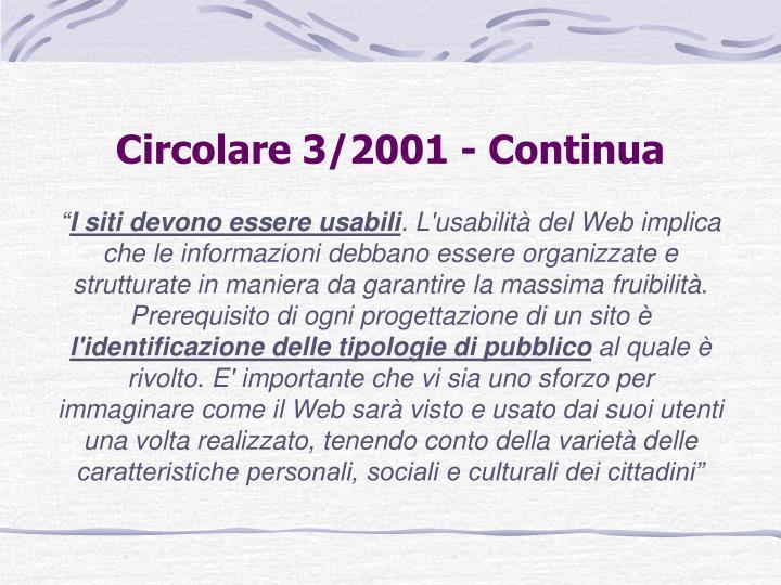 Circolare 3/2001 - Continua