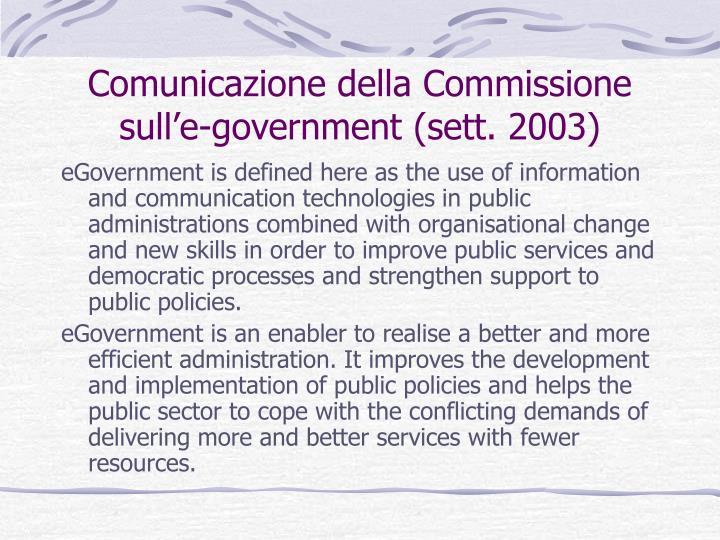Comunicazione della Commissione sull'e-government (sett. 2003)