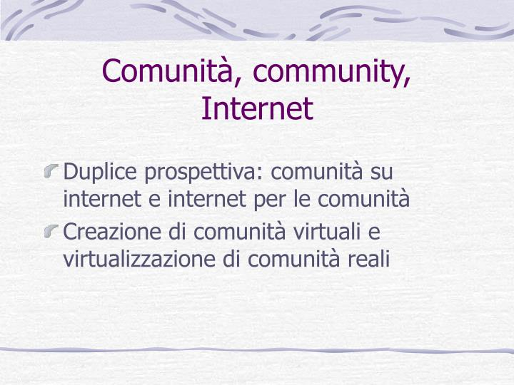 Comunità, community, Internet