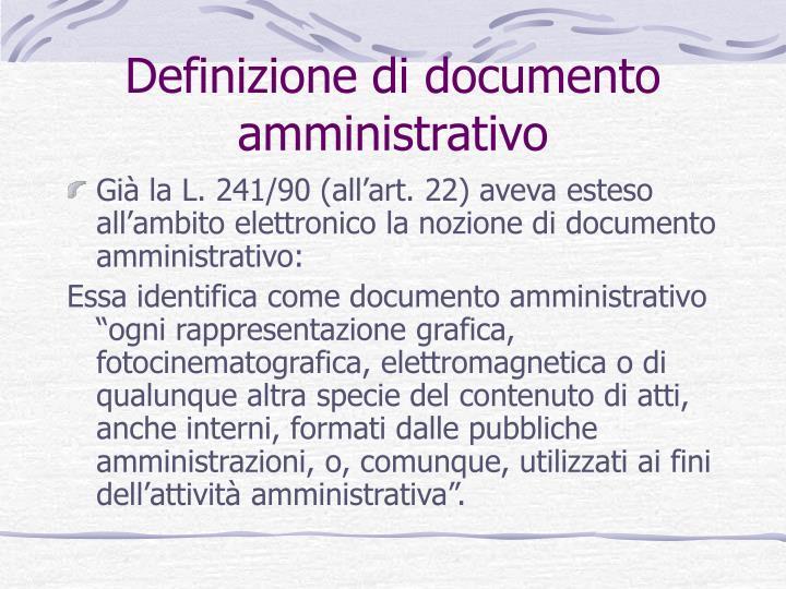 Definizione di documento amministrativo