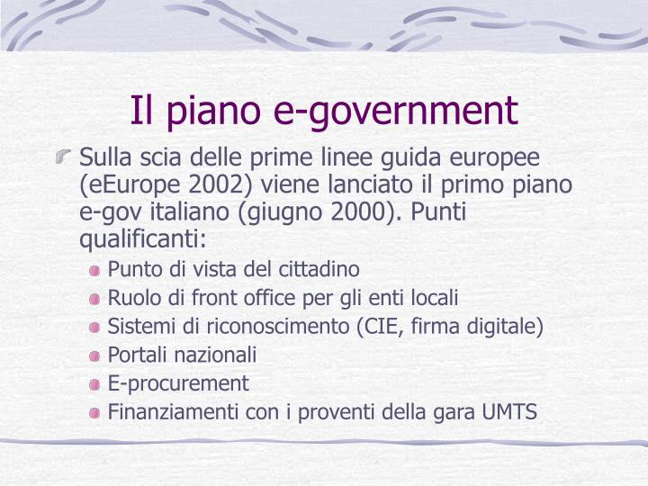 Il piano e-government