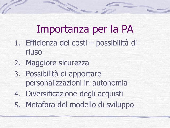 Importanza per la PA