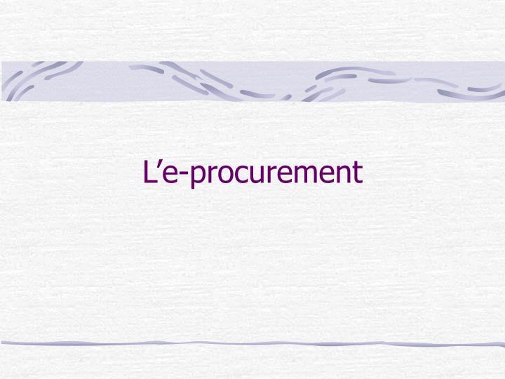 L'e-procurement