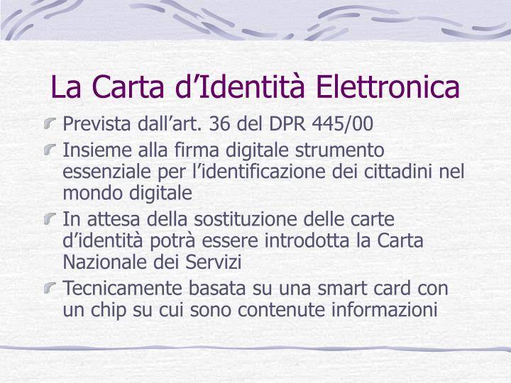 La Carta d'Identità Elettronica