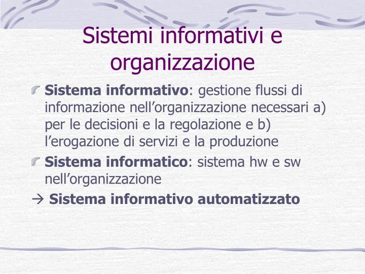 Sistemi informativi e organizzazione