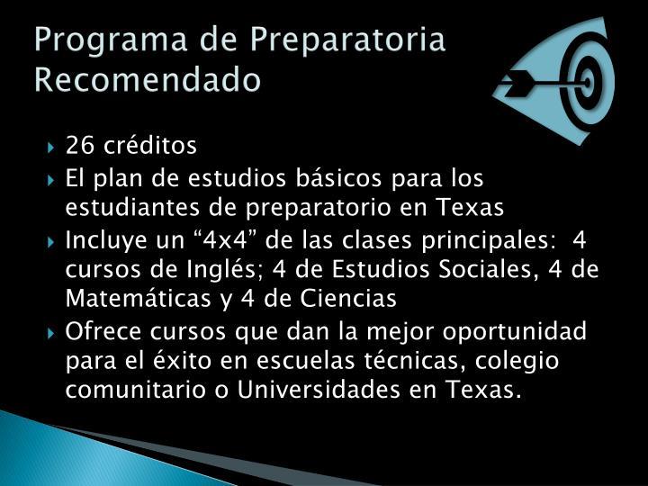 Programa de Preparatoria Recomendado