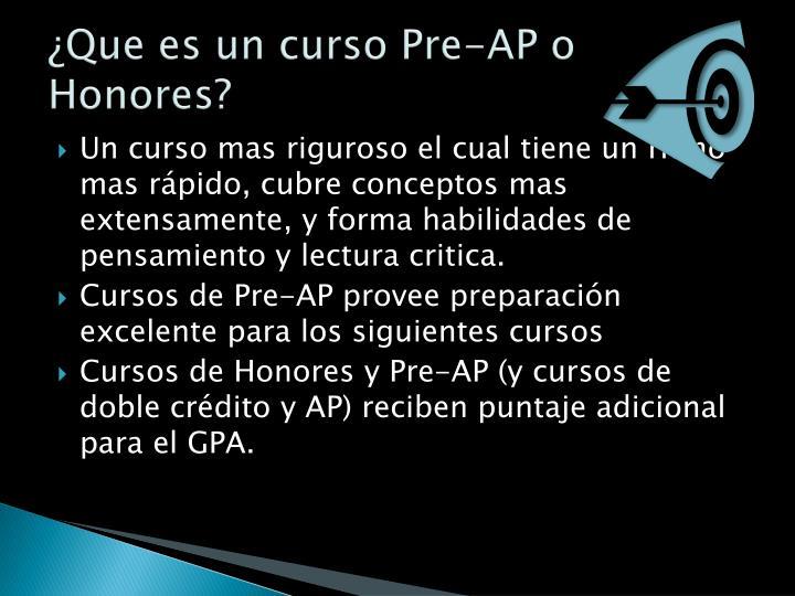 ¿Que es un curso Pre-AP o
