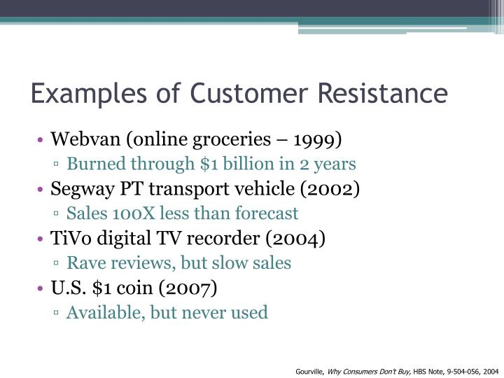 Examples of Customer Resistance