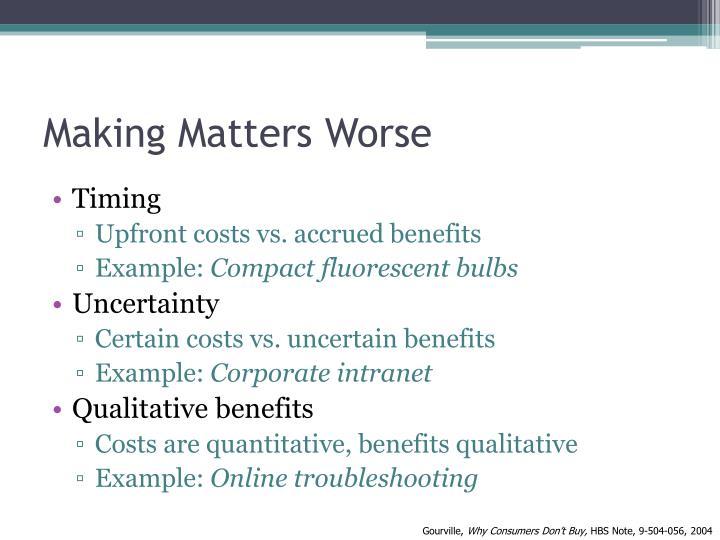 Making Matters Worse