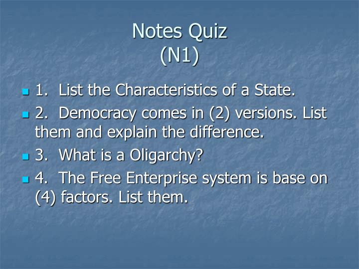 Notes quiz n1
