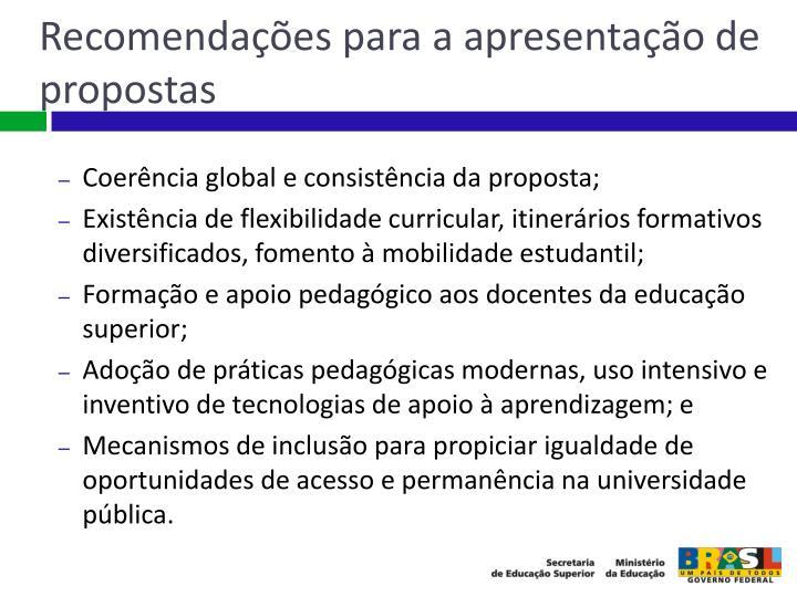 Recomendações para a apresentação de propostas