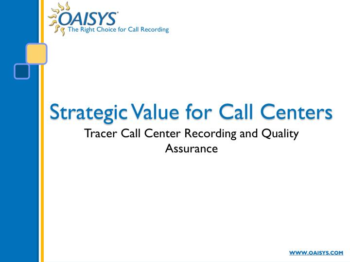 strategic value for call centers n.