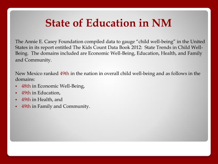 State of education in nm