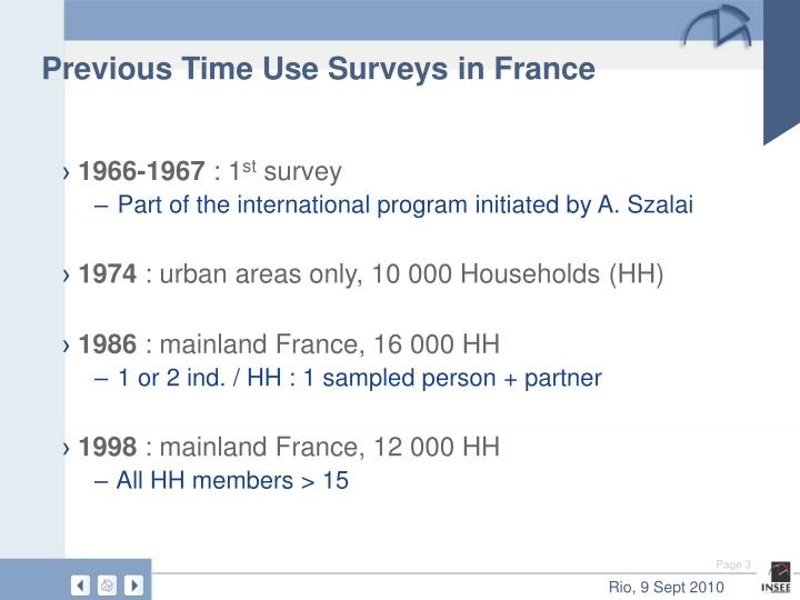 Previous time use surveys in france