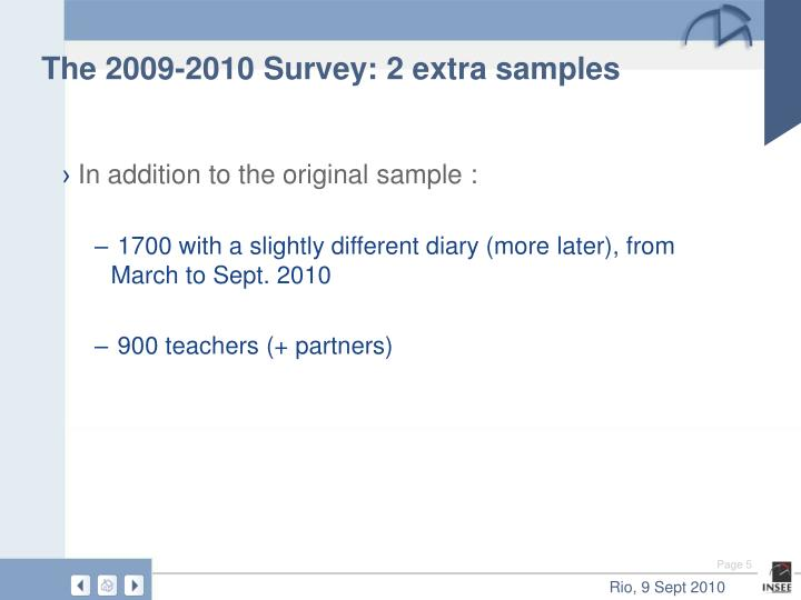 The 2009-2010 Survey: 2 extra samples