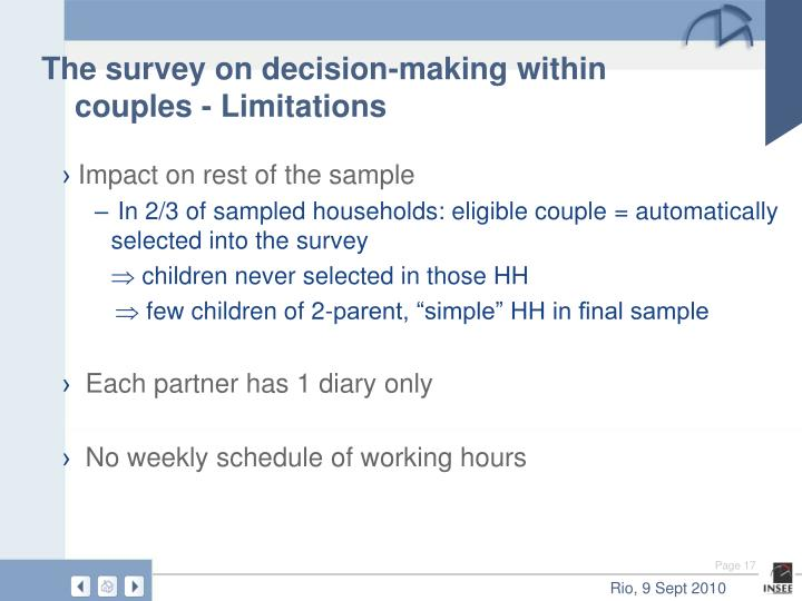 The survey on decision-making within couples - Limitations