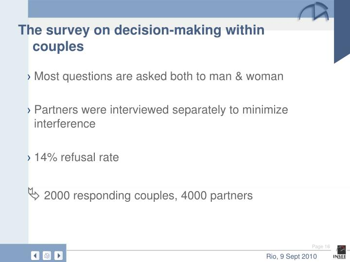 The survey on decision-making within couples