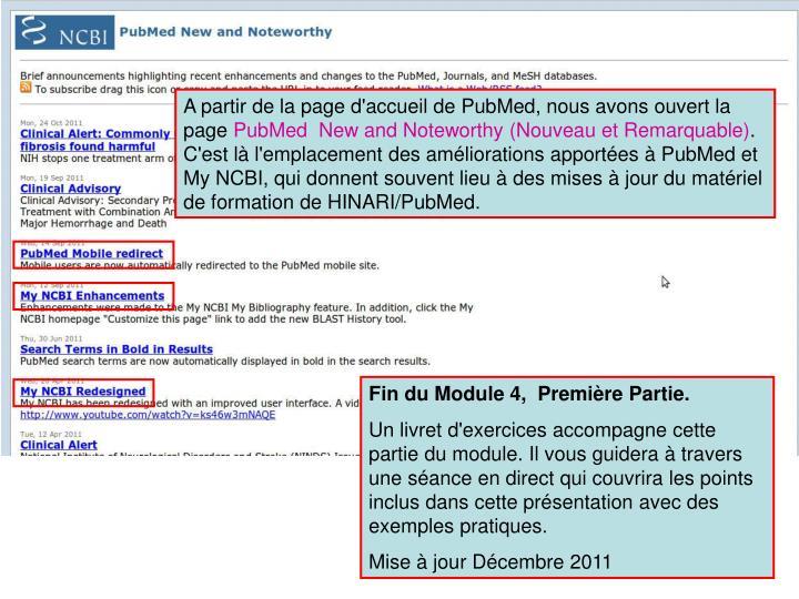 A partir de la page d'accueil de PubMed, nous avons ouvert la page