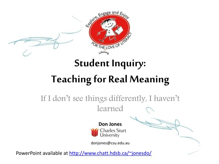 student inquiry teaching for real meaning n.