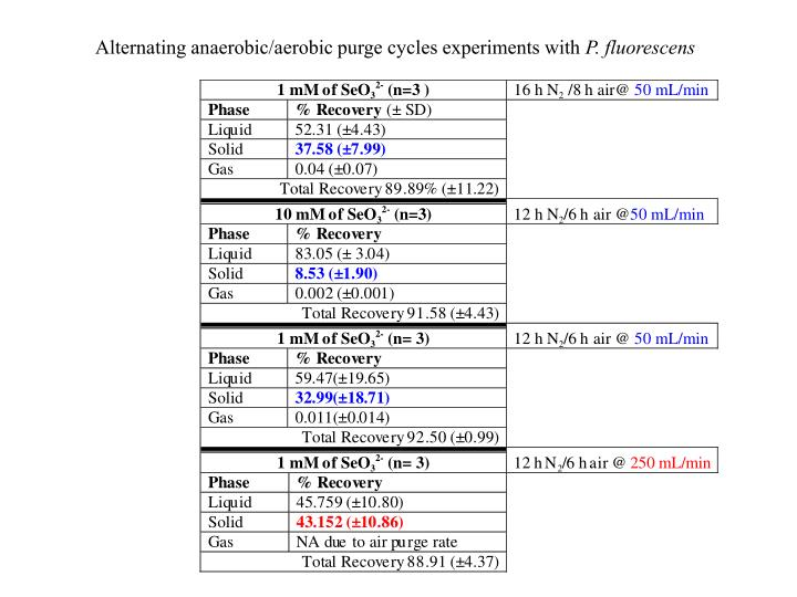 Alternating anaerobic/aerobic purge cycles experiments with