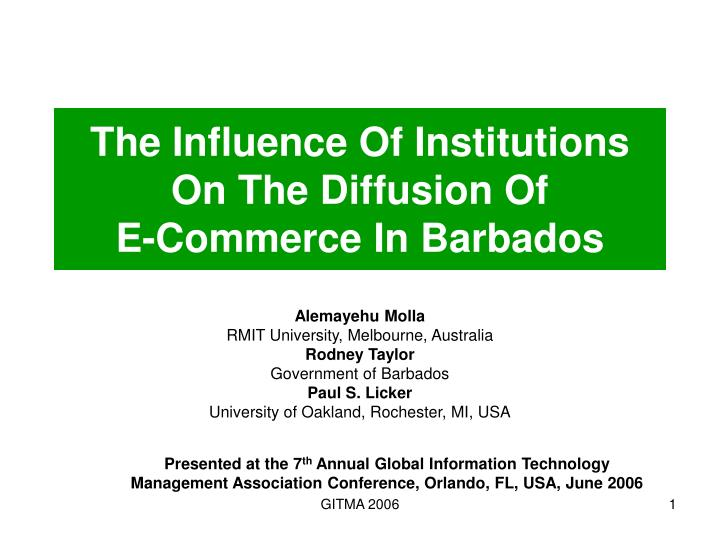 the influence of institutions on the diffusion of e commerce in barbados n.