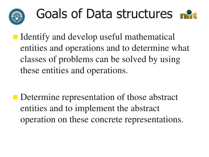 Goals of Data structures