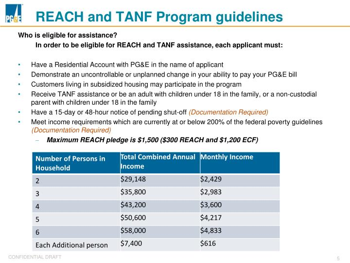 REACH and TANF Program guidelines